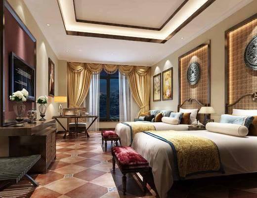 酒店, 酒店客房, 客房, 东南亚, 双人房, 卧室