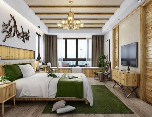 双人床, 床头柜, 电视柜, 单椅, 书桌椅, 吊灯, 原木家具, 墙饰, 新中式, 中式