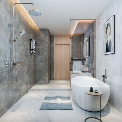 现代卫生间, 浴室, 浴缸