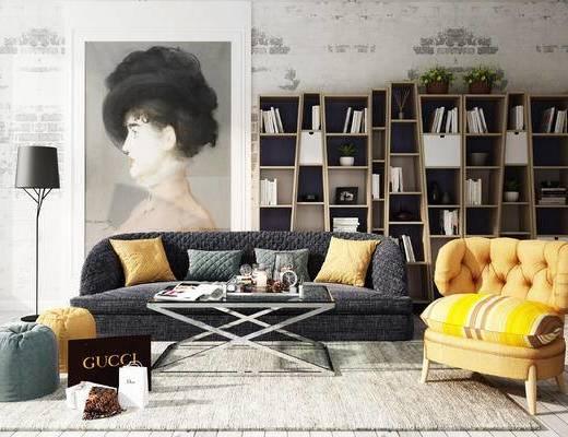 沙发组合, 书柜, 沙发, 北欧沙发, 茶几, 装饰画