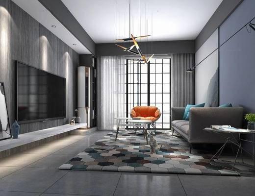 北欧客厅, 现代客厅, 单椅, 吊灯, 现代沙发, 沙发组合