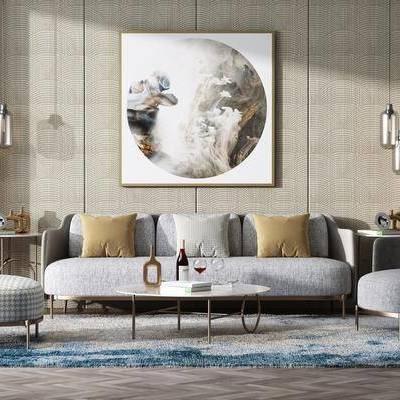 沙发组合, 多人沙发, 茶几, 单人沙发, 装饰画, 挂画, 酒柜, 酒瓶, 吊灯, 摆件, 装饰品, 陈设品, 现代