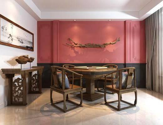 中式, 麻将桌, 端景台