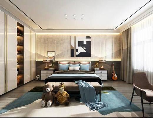 卧室, 儿童卧室, 现代儿童房, 床具组合, 床尾踏, 摆件组合, 玩偶