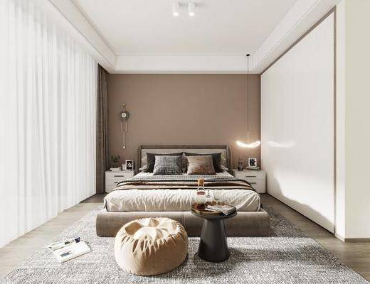 现代卧室, 双人床, 床头柜, 吊灯, 茶几