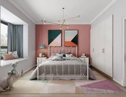 北欧卧室, 现代卧室, 卧室, 床, 装饰画, 吊灯, 床头柜