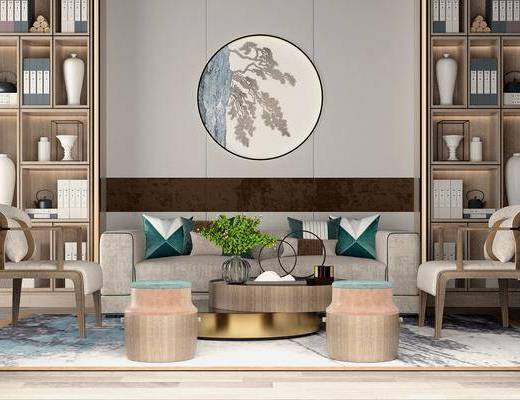 沙发组合, 多人沙发, 双人沙发, 茶几, 凳子, 单人椅, 装饰柜, 圆框画, 花瓶, 绿植植物, 摆件, 装饰品, 陈设品, 新中式