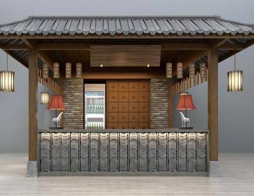 接待台, 前台, 收银台, 台灯, 吊灯, 门面门头, 吊灯组合, 新中式