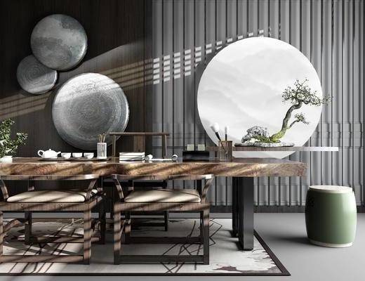 中式, 茶台, 茶室, 茶桌, 椅子, 茶具