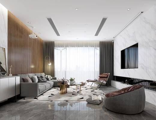 沙发组合, 边柜, 地毯, 茶几, 电视, 餐桌, 吊灯