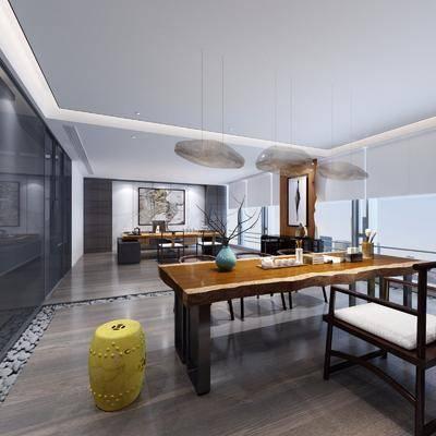 办公室, 茶桌, 书桌, 单人椅, 办公椅, 装饰柜, 装饰画, 挂画, 摆件, 装饰品, 陈设品, 凳子, 新中式