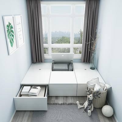榻榻米, 储物柜, 床, 榻榻米床, 卧室, 柜子, 装饰画