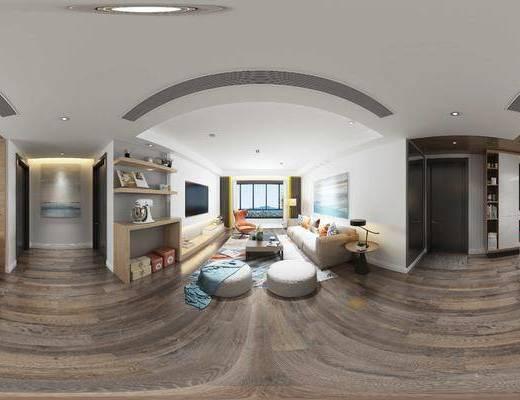 北欧, 现代, 客厅, 沙发, 多人沙发, 电视柜, 装饰画, 挂画, 茶几, 边几, 台灯