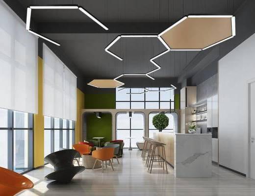 休闲区, 咖啡厅, 办公, 现代, 茶水间, 茶水区