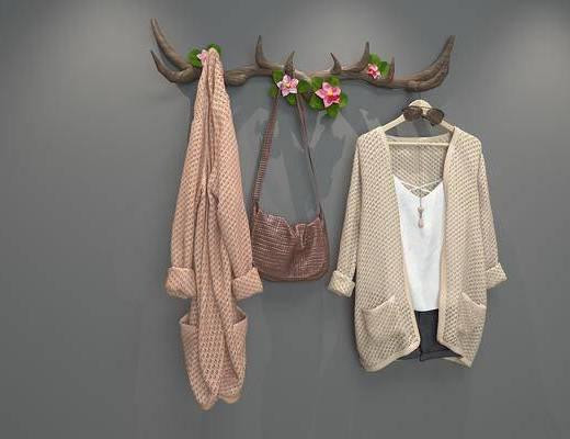 鹿角衣挂, 衣挂, 墙饰, 衣服, 挂件, 鹿, 现代