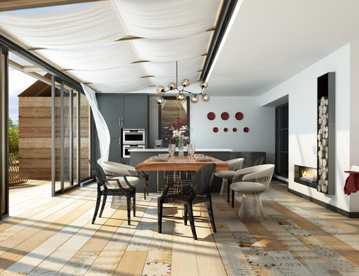 阳光房, 阳台, 餐桌椅, 桌椅组合, 吊灯, 椅子
