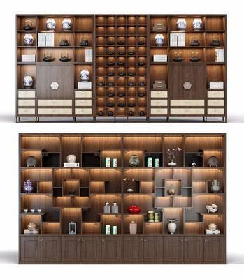 柜架组合, 新中式柜架组合, 酒柜, 摆件组合