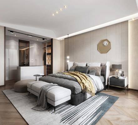 双人床, 地毯, 床头柜, 墙饰, 吊灯, 衣柜