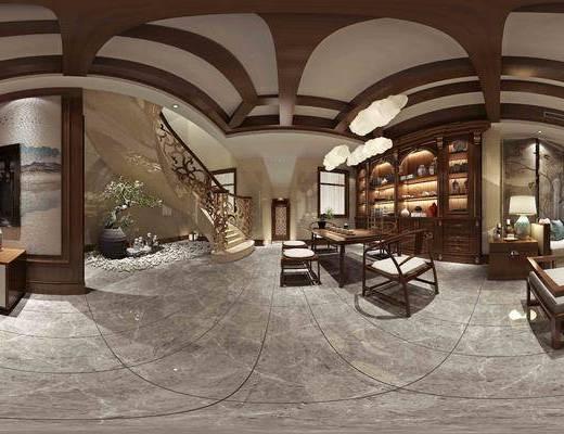 中式, 客厅, 餐厅, 沙发, 沙发组合, 餐桌, 桌子, 单椅, 吊灯, 装饰柜, 盆栽