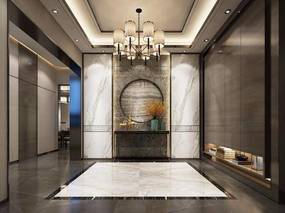 玄关, 走廊, 玄关台, 吊灯, 新中式, 中式