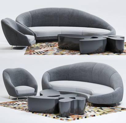 多人沙发, 单人沙发, 弧形沙发, 茶几, 地毯, 布艺沙发, 沙发茶几组合, 沙发组合
