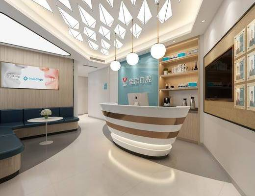 医院前台, 口腔诊所, 前台接待, 医疗器械, 装饰柜, 摆件组合, 现代