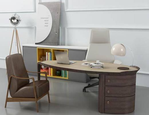 书桌, 办公桌, 摆件, 单人椅, 落地灯, 台灯, 书柜, 装饰柜, 书籍, 现代