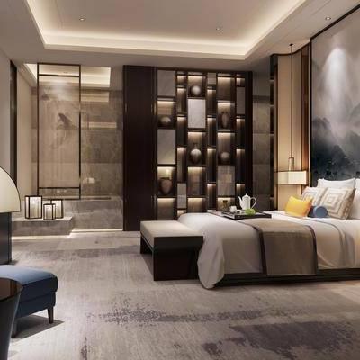 中式酒店套间客房卧室, 中式卧室, 卧室, 床, 中式台灯, 装饰柜