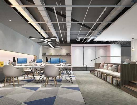 办公桌椅组合, 卡座, 八公空间, 吊灯