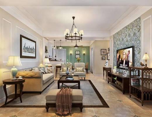 沙发, 茶几, 电视柜, 餐桌椅, 吧凳, 挂画, 置物架, 吊灯, 台灯, 简美, 美式