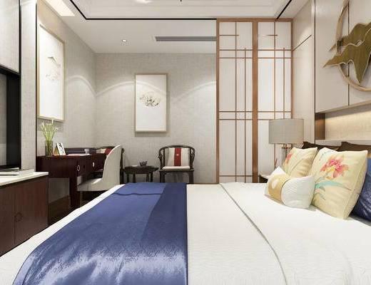 酒店宾馆, 卫生间, 墙饰, 电视柜, 装饰画, 壁镜, 洗手盆