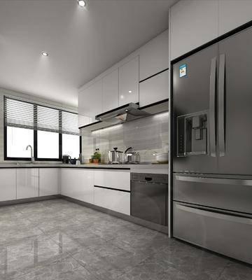 厨房, 橱柜, 厨柜, 冰箱, 厨具, 现代