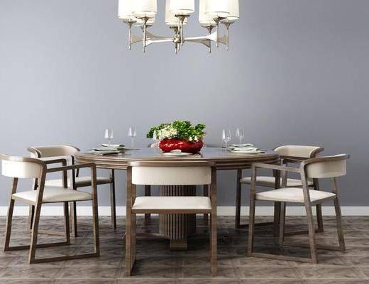 餐桌, 桌椅组合, 吊灯, 餐具组合
