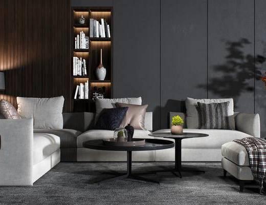 沙发组合, 茶几, 植物, 书柜, 现代沙发