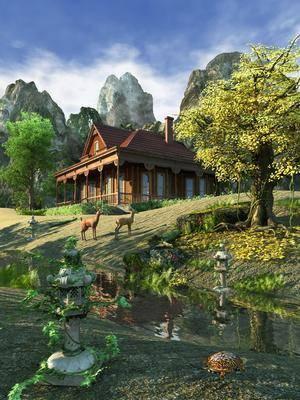 别墅, 树林生态, 草地榕树, 植物森林, 景观建筑, 鹿, 古建别墅, 中式