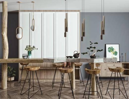 吧台, 吧椅, 装饰柜, 边柜, 桌花, 吊灯, 饰品摆件