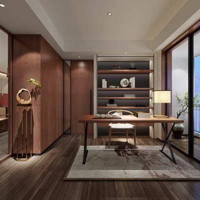 书房, 装饰柜, 书柜, 书桌, 单人椅, 摆件, 台灯, 装饰架, 书籍, 新中式