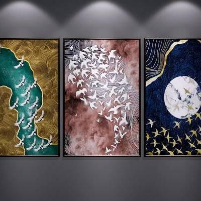 新中式, 挂画, 墙画, 装饰画