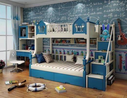 单人床, 书桌, 桌椅组合, 背景墙