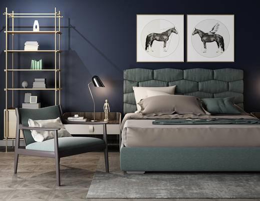 现代卧室, 装饰架, 床, 床头柜组合, 装饰画, 陈设品