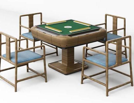 麻将桌, 桌子, 椅子, 单椅, 中式, 新中式