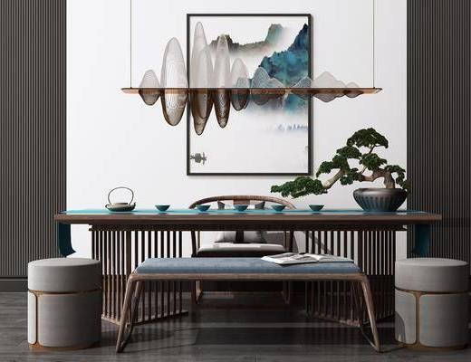 艺术吊灯, 休闲茶桌, 洽谈桌, 桌椅组合, 茶具组合, 装饰画, 盆栽植物