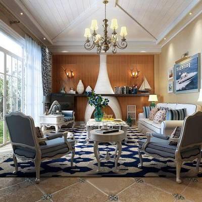 壁炉, 沙发组合, 沙发茶几组合, 地中海, 客厅, 吊灯
