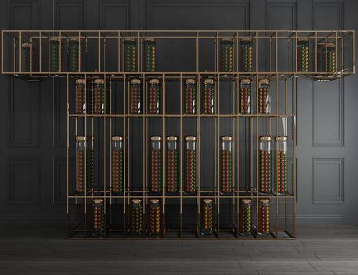 柜架组合, 装饰架, 置物架, 现代金属装饰架3d模型