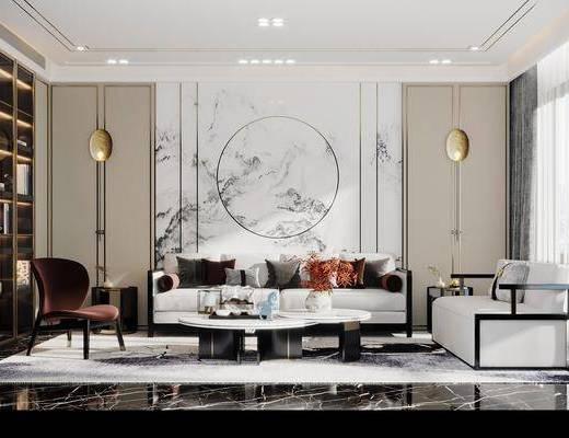 沙发组合, 茶几, 单椅, 吊灯, 背景墙