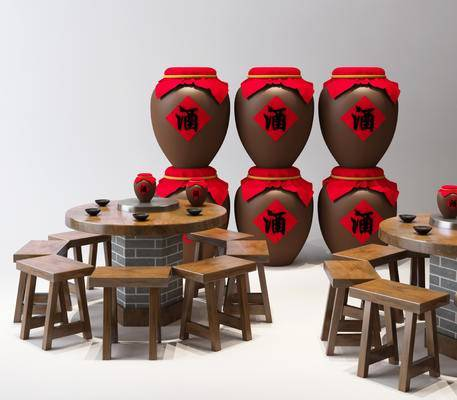 中式, 复古, 酒坛, 酒桌, 组合, 工装