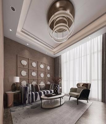 现代会客洽谈室, 多人沙发, 沙发椅, 茶几, 边几, 墙饰, 吊灯, 现代