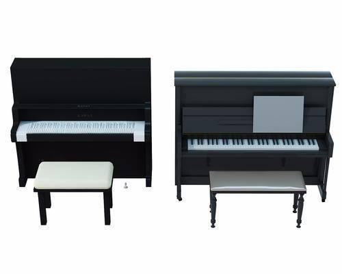 钢琴, 钢琴组合, 凳子, 现代