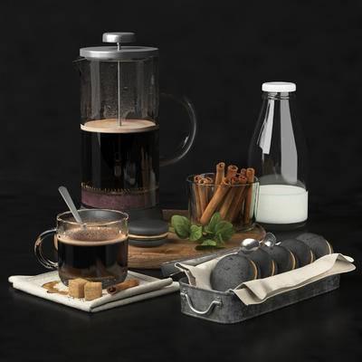 咖啡机, 杯, 夹心蛋糕, 牛奶, 食物夹, 糖, 食物, 现代