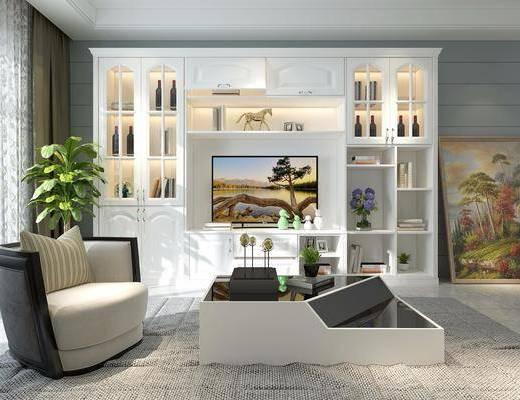 装饰柜, 酒柜, 装饰画, 挂画, 单人沙发, 茶几, 摆件, 装饰品, 陈设品, 盆栽, 美式